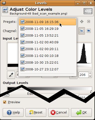 GIMP levels dialog